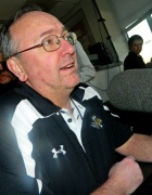 Towson University's sport announcer gets himself prepared for the lacrosse game.