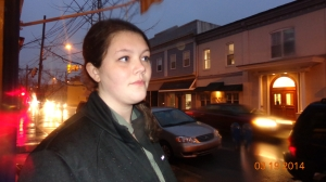Jamie Armstrong stands in her home town of Centerville, Md after having dinner at Colosseum pizzeria.