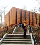 Towson students walking through campus on their way to class.
